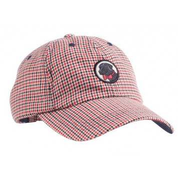 Frat Hat: Red / Navy Houndstooth